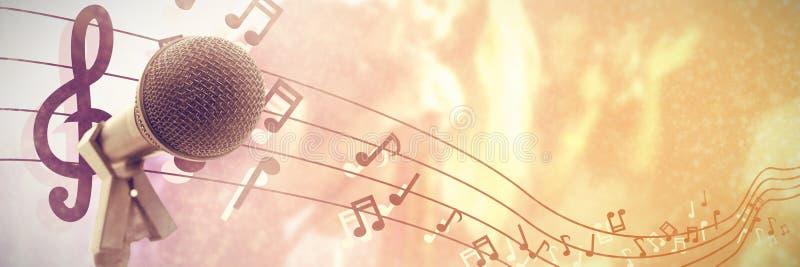 Imagen compuesta del micrófono con el soporte ilustración del vector