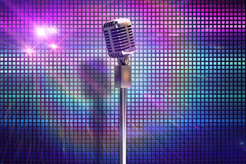 Imagen compuesta del micrófono retro en soporte ilustración del vector
