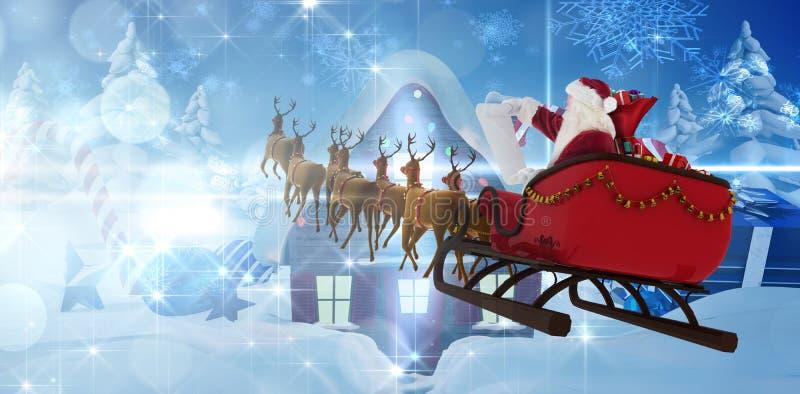 Imagen compuesta del montar a caballo de Papá Noel en el trineo durante la Navidad stock de ilustración