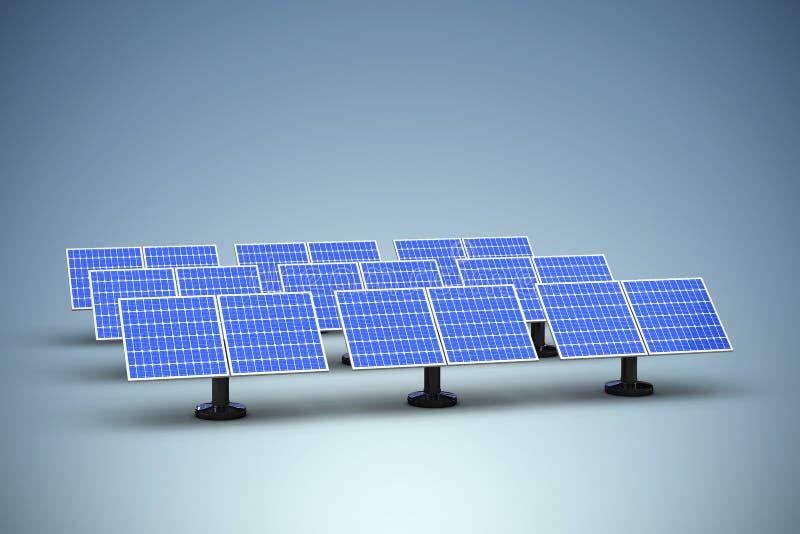 Imagen compuesta del panel solar azul 3d dispuesto de lado a lado stock de ilustración