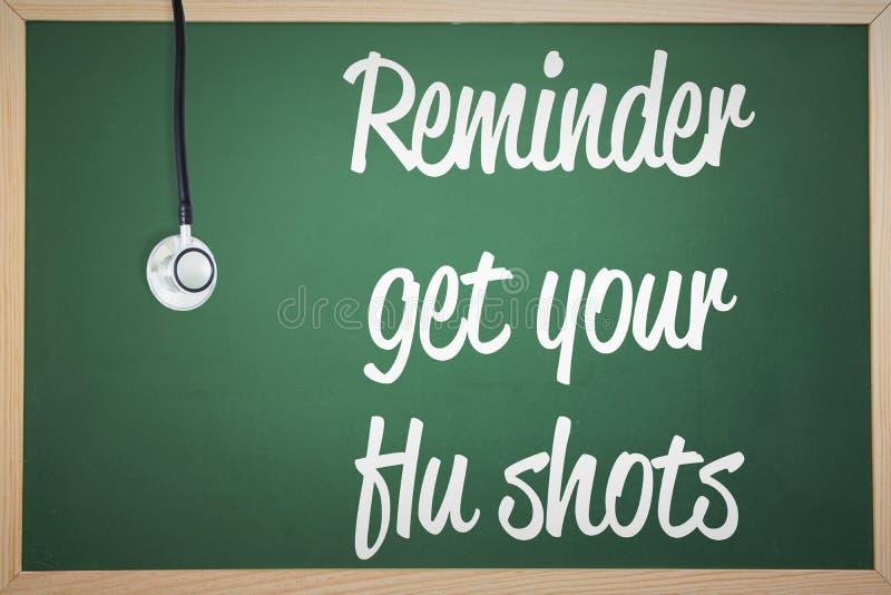 Imagen compuesta del recordatorio de la vacuna contra la gripe ilustración del vector