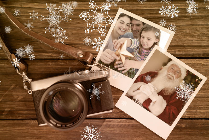 Imagen compuesta del retrato de la Navidad de la familia imagen de archivo