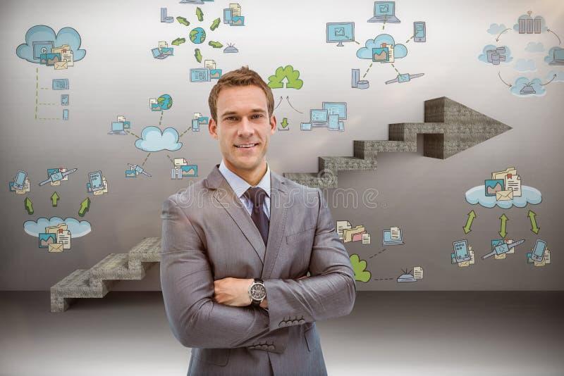 Imagen compuesta del retrato del hombre de negocios elegante en traje foto de archivo