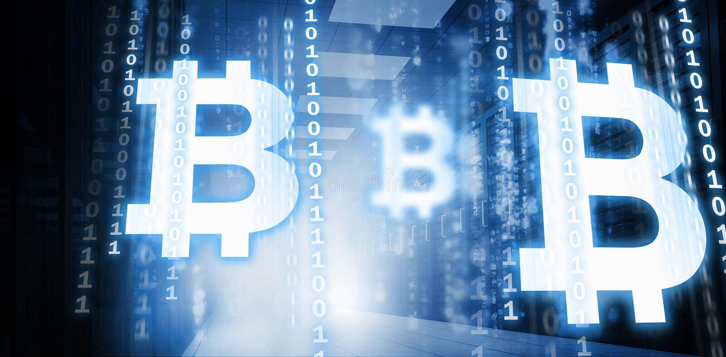 Imagen compuesta del símbolo del cryptocurrency digital del bitcoin libre illustration