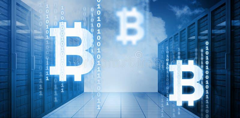 Imagen compuesta del símbolo del cryptocurrency digital del bitcoin ilustración del vector