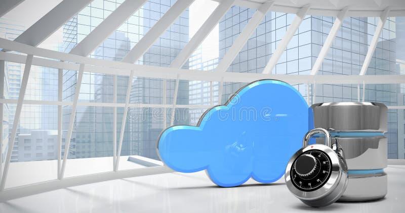 Imagen compuesta del símbolo del disco duro con la cerradura de combinación y la nube azul libre illustration
