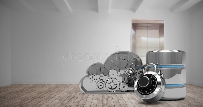Imagen compuesta del símbolo del disco duro con la cerradura y la nube de combinación libre illustration
