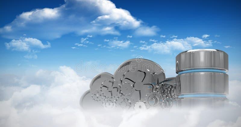 Imagen compuesta del símbolo del disco duro con la nube mecánica stock de ilustración
