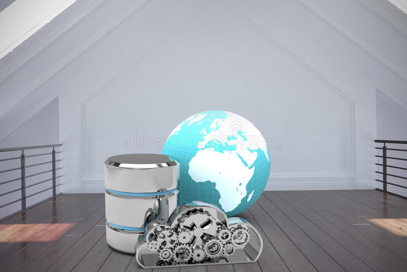Imagen compuesta del símbolo del disco duro con la nube y la tierra metálicas libre illustration