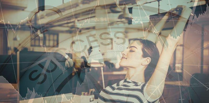 Imagen compuesta del texto del éxito con los gráficos y el compás navegacional imagenes de archivo