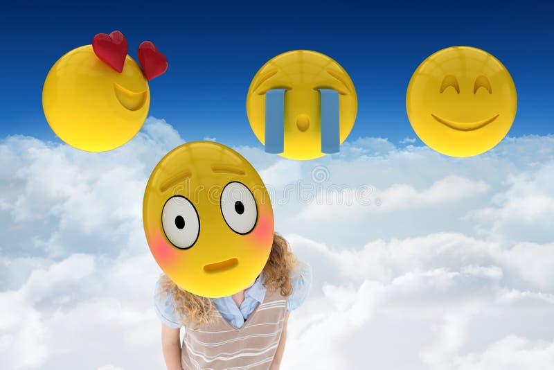 Imagen compuesta en smiley en 3d contra un fondo del cielo ilustración del vector
