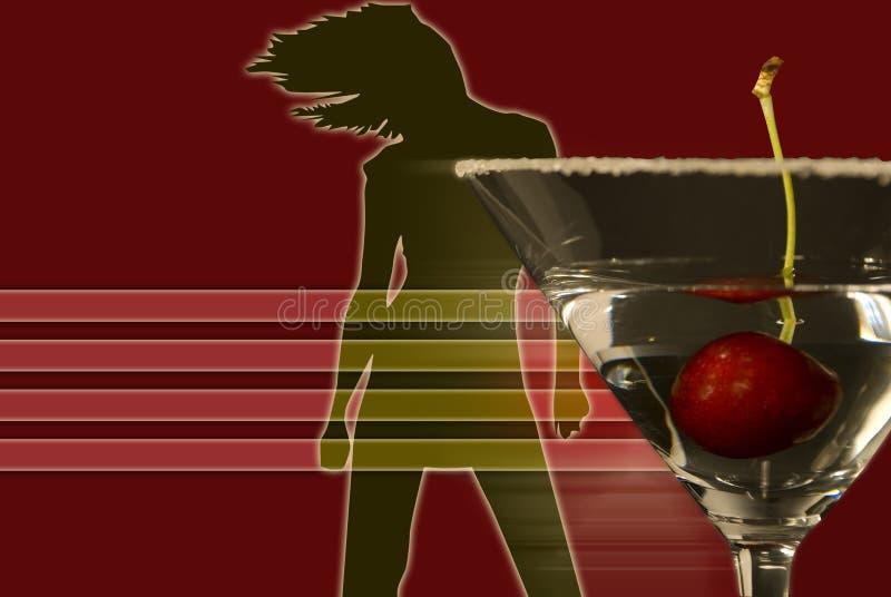 Imagen con el baile y martini de la mujer ilustración del vector