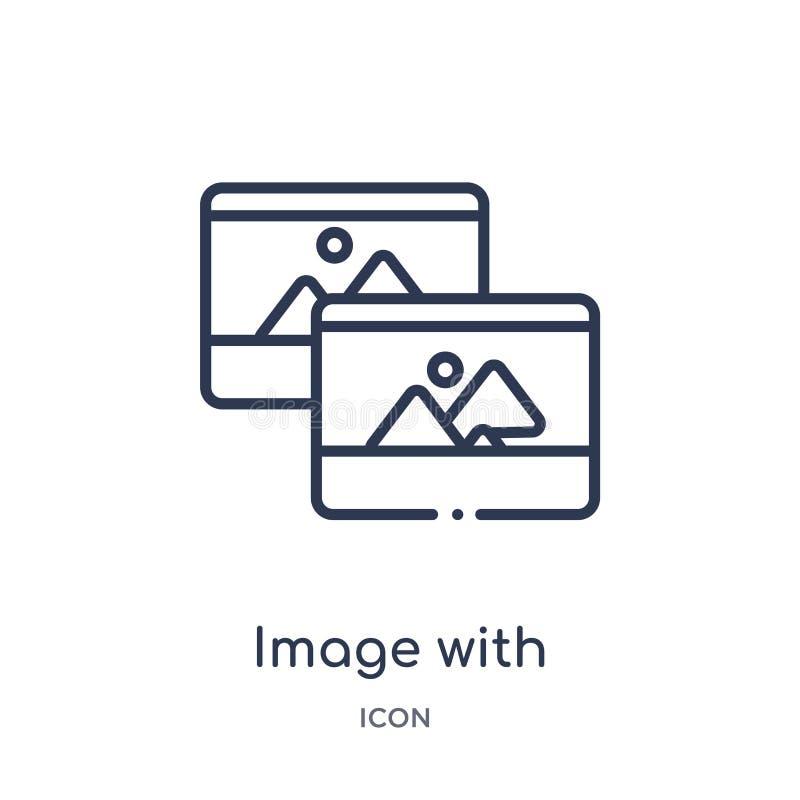 imagen con el icono del interfaz de la sombra de la colección del esquema de la interfaz de usuario Línea imagen fina con el icon libre illustration