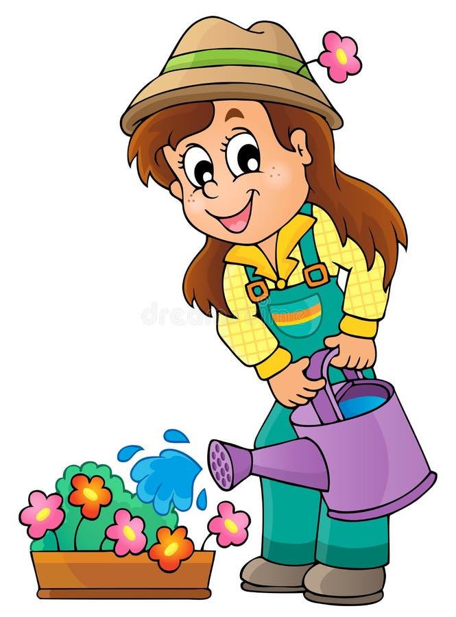 Imagen con el tema 1 del jardinero stock de ilustración