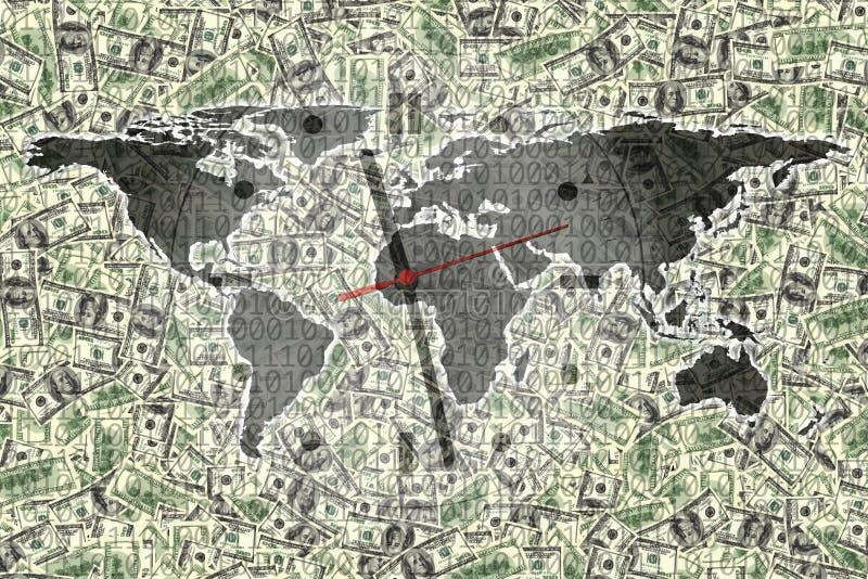 Imagen conceptual de cientos billetes de dólar y relojes con código binario y el mapa del mundo libre illustration