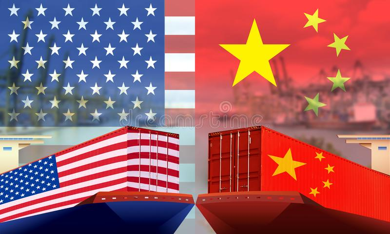 Imagen conceptual de la guerra comercial EE.UU.-China, el conflicto económico, los aranceles estadounidenses a las exportaciones  imágenes de archivo libres de regalías