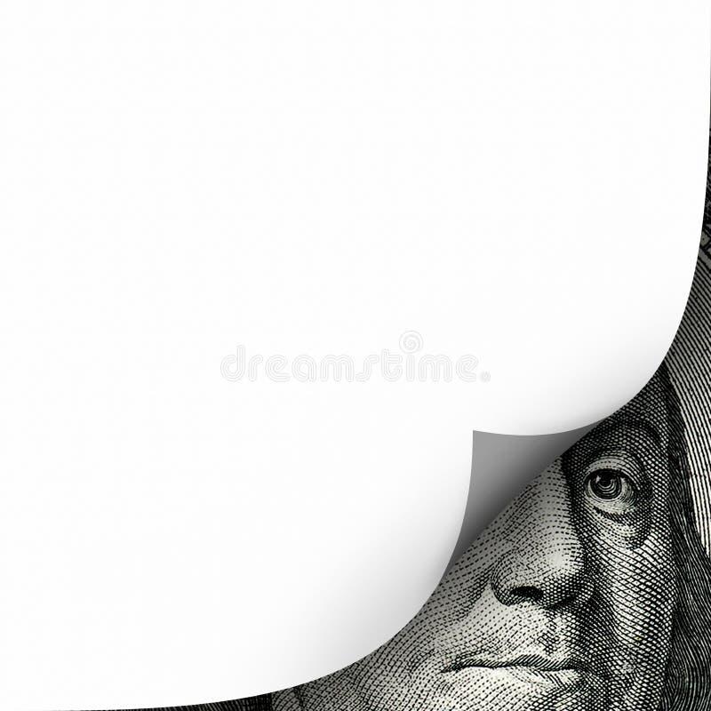 Imagen conceptual de las finanzas del rizo vacío blanco de la página sobre un hundr imagenes de archivo