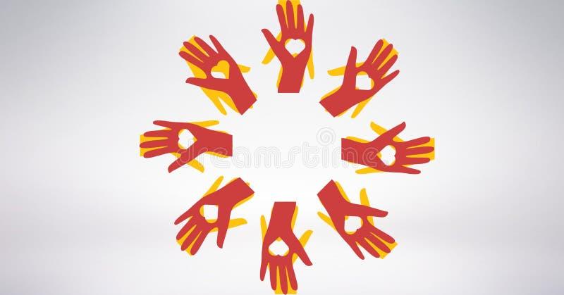 Imagen conceptual de las manos de los voluntarios con en forma de corazón ilustración del vector