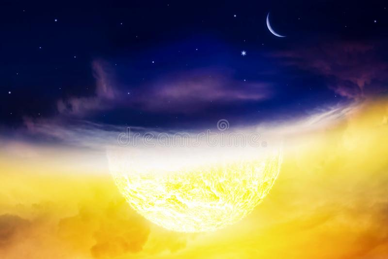 Imagen conceptual del día y de la noche Cielo nocturno Explosión grande abstracta fotos de archivo libres de regalías