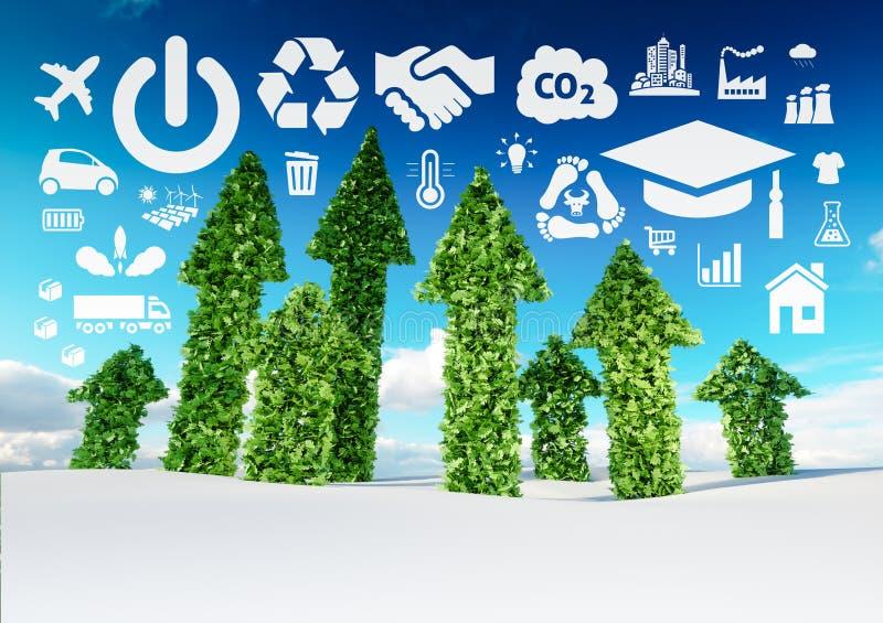 Imagen conceptual del desarrollo sostenible ejemplo 3d del fre ilustración del vector