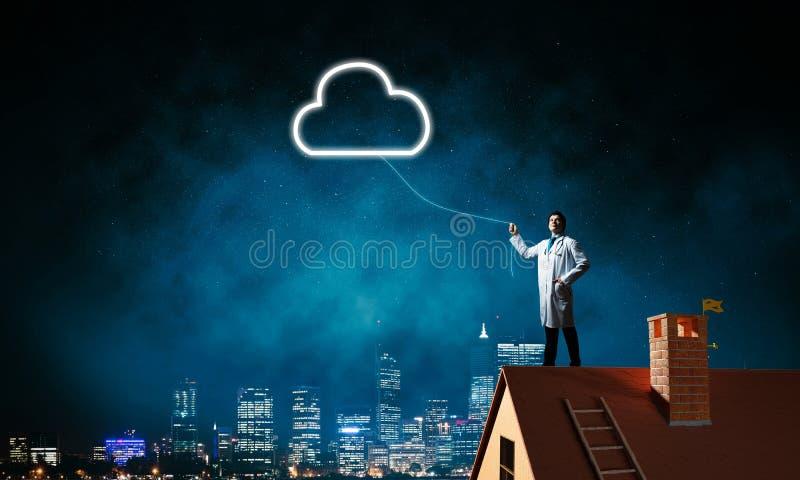 Imagen conceptual del doctor con símbolo de la nube ilustración del vector
