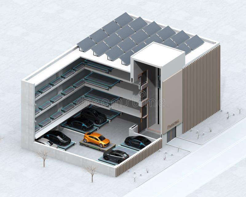 Imagen cortada del concepto para el sistema automático del estacionamiento del coche del AGV stock de ilustración