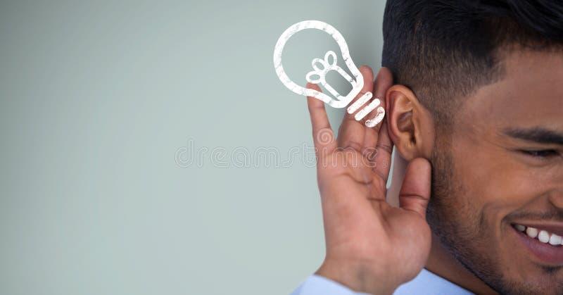 Imagen cosechada de la idea que escucha del hombre de negocios feliz contra fondo verde stock de ilustración