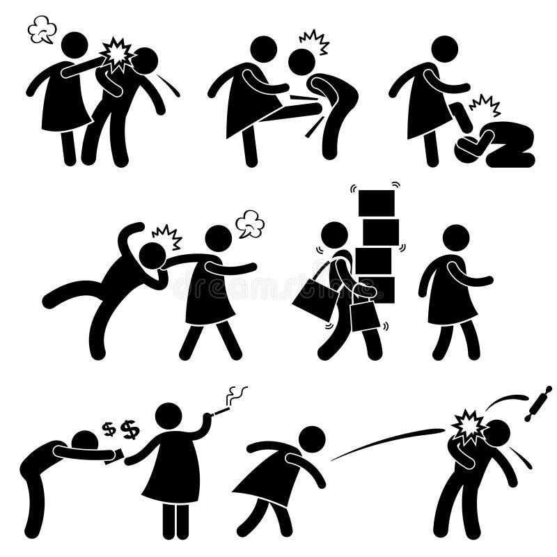 Imagen débil del novio del marido de la novia abusiva de la esposa ilustración del vector