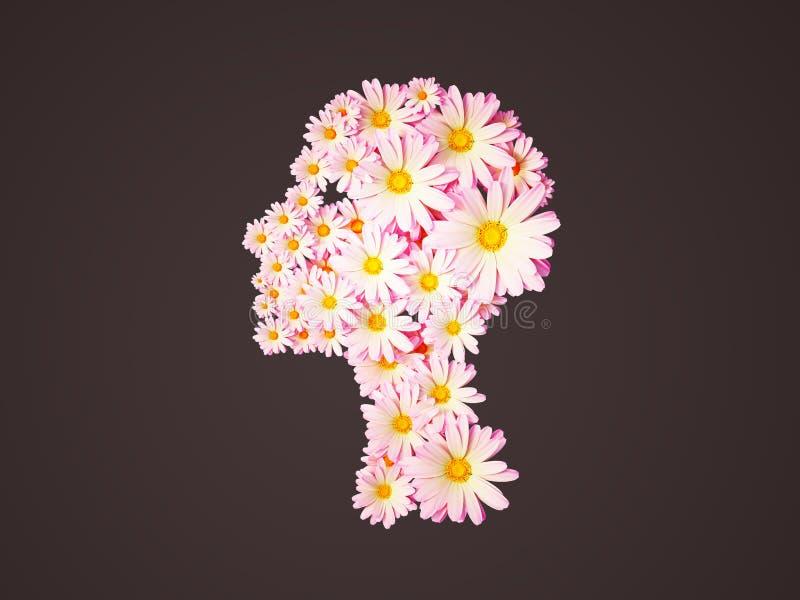 imagen 3d de la cabeza de flor de la muchacha ilustración del vector