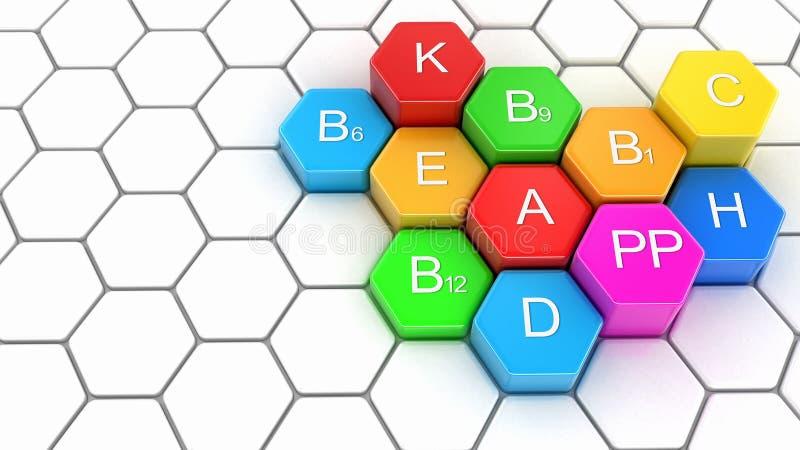 imagen 3d de Multi-vitaminas stock de ilustración