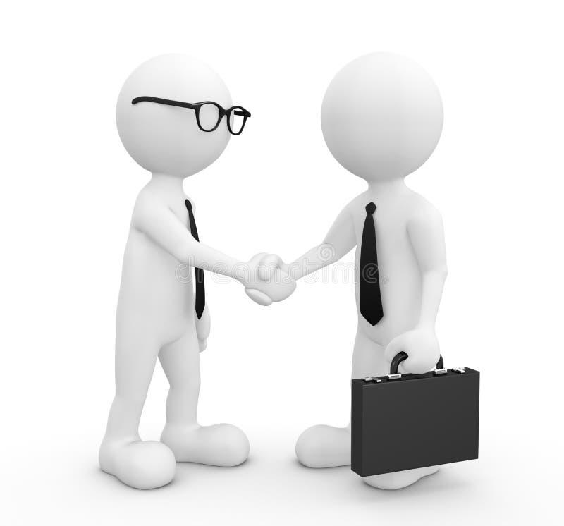 imagen 3D del apretón de manos de dos hombres de negocios stock de ilustración