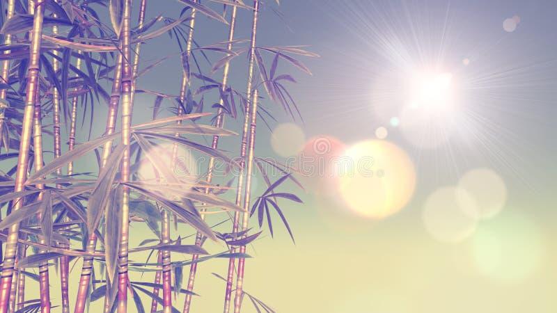 imagen 3D del bambú con efecto del vintage ilustración del vector