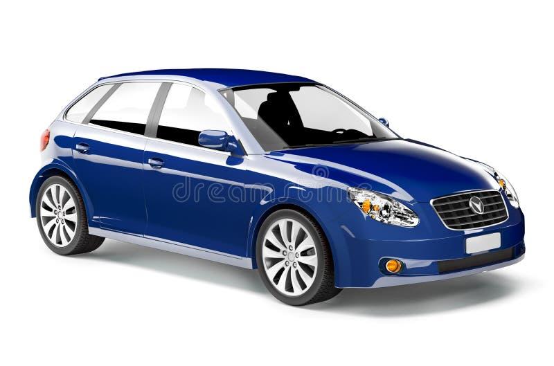 imagen 3D del coche azul foto de archivo