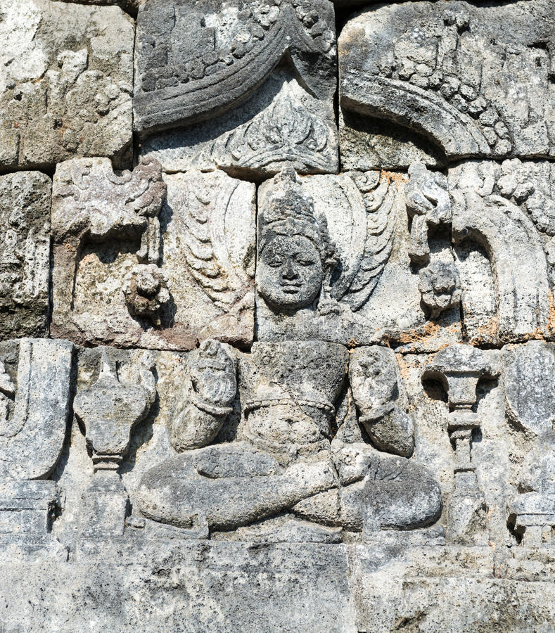 Imagen de Buda en el complejo budista de Candi Sewu, Java, Indonesia imágenes de archivo libres de regalías