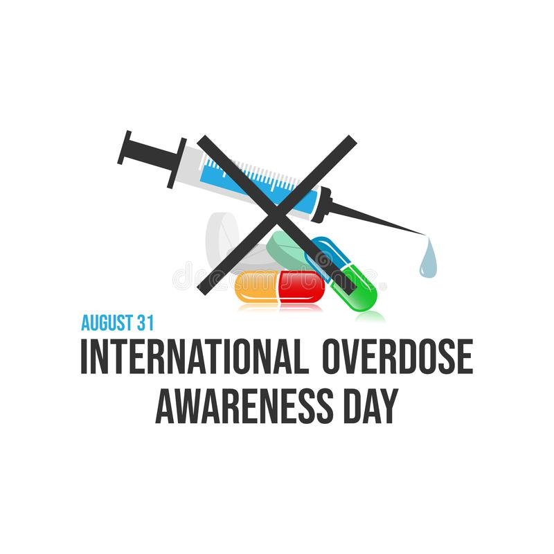 Imagen de diseño vectorial del día de sensibilización sobre la sobredosis de drogas imagen de archivo
