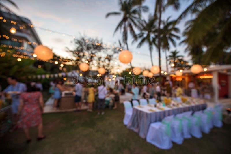 imagen de falta de definición del banquete de boda al aire libre imágenes de archivo libres de regalías