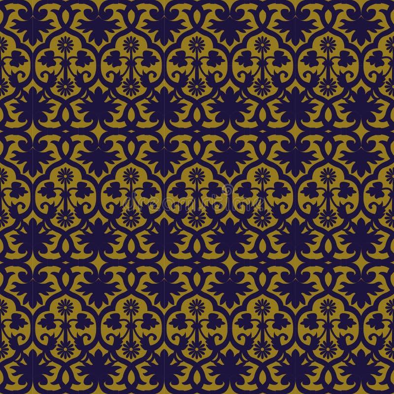 Imagen de fondo antigua elegante del estampado de plores redondo espiral ilustración del vector