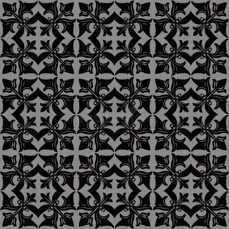 Imagen de fondo antigua oscura elegante de la cruz del cuadrado de la vid de la flor ilustración del vector