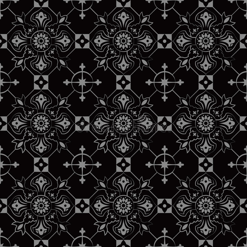 Imagen de fondo antigua oscura elegante de la flor cruzada redonda del control libre illustration