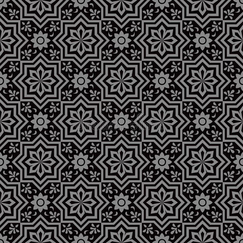 Imagen de fondo antigua oscura elegante de la geometría de la flor de la estrella stock de ilustración
