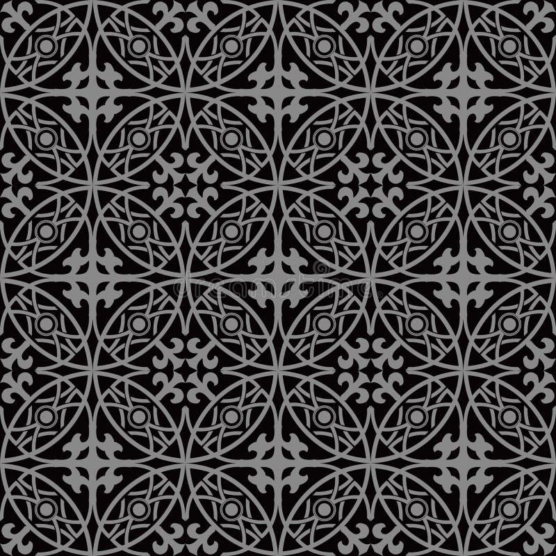 Imagen de fondo antigua oscura elegante del modelo redondo cruzado de la geometría del marco ilustración del vector