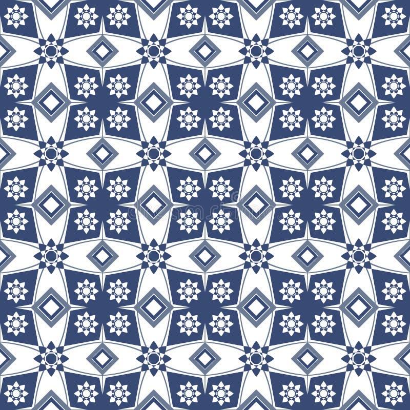 Imagen de fondo inconsútil del modelo azul de la geometría del cuadrado de la flor del vintage ilustración del vector