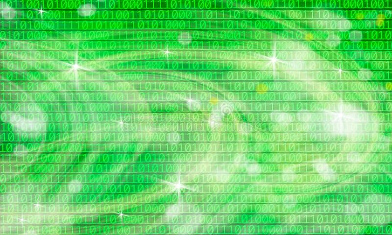 Imagen de fondo de luces abstractas y de códigos binarios stock de ilustración