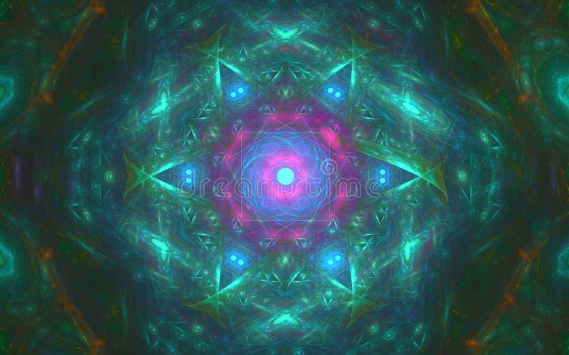 Imagen de fondo de una estrella brillante con los rayos verdes y de un interior rosado del círculo con un modelo abstracto alrede libre illustration