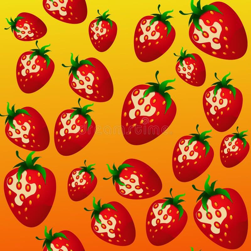 Imagen de fresas en un arreglo caótico ilustración del vector