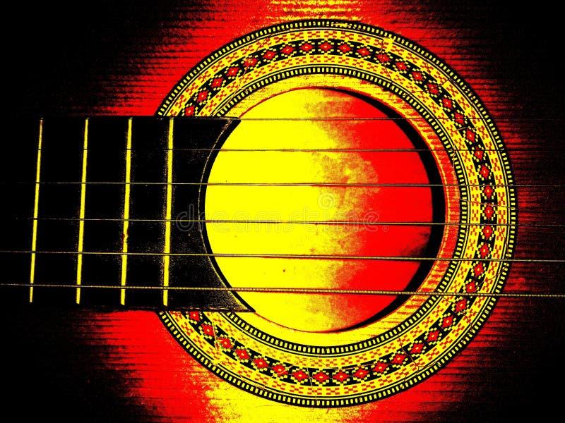 Imagen de guitarra de madera, gran contraste y saturación imagen de archivo