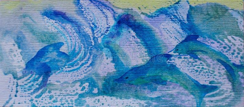 Imagen de la acuarela de la familia de los delfínes en ondas azules ilustración del vector