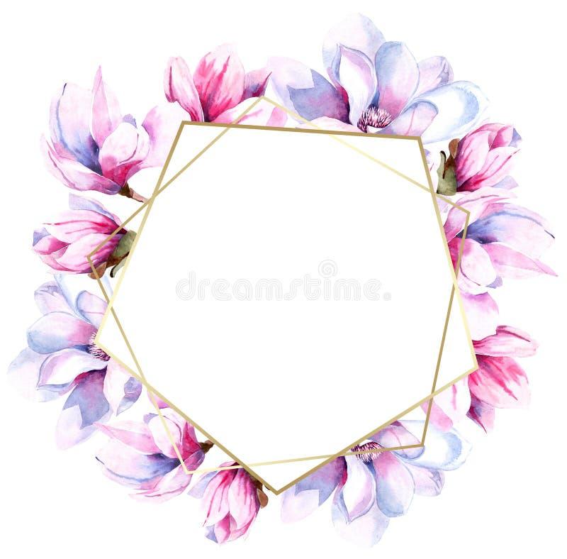 Imagen de la acuarela de las flores de la magnolia Floraci?n de la primavera de la magnolia Ramo de flores ilustración del vector