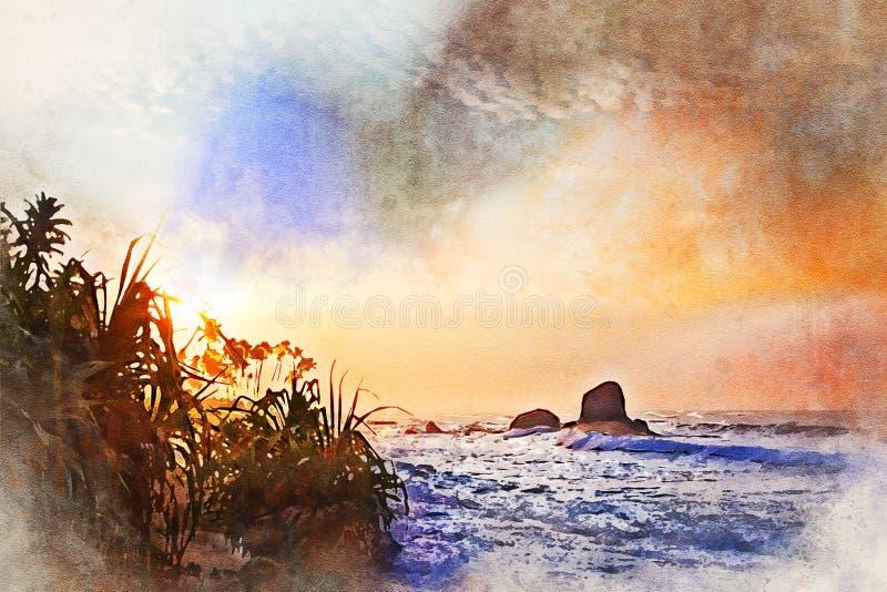 Imagen de la acuarela de la puesta del sol tropical y de la playa escénica stock de ilustración