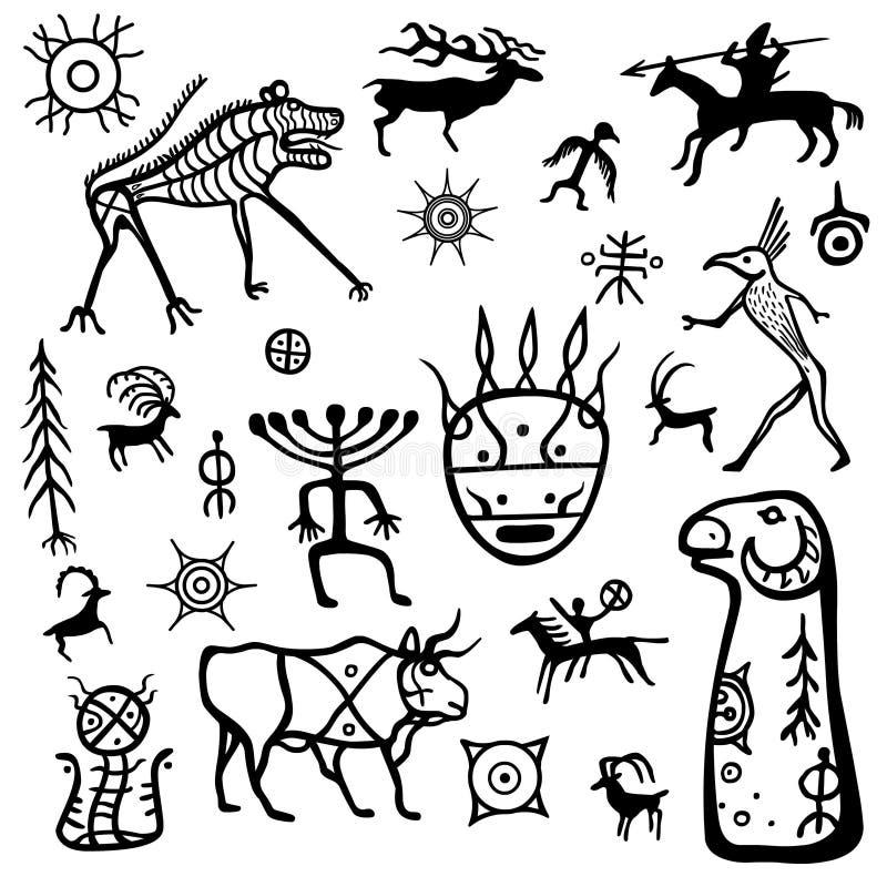 Imagen de la animación de las pinturas antiguas de la roca Dibujando en una piedra un menhir libre illustration